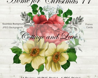Christmas Clipart,  Digital Christmas Seamless Papers, Digital Frames, Christmas Scrapbooking, Christmas Commercial Use P 208