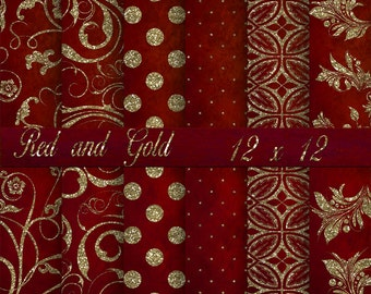 Red and Gold Digital Background Paper, Printable Paper, Red and Gold Glitter, Paper, Digital Back Drops for photos. No 1536