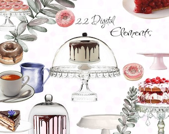 Printable Desserts, Bakery clipart, Pie, Cakes, Digital Donuts, Cake Plates, Floral, P 199