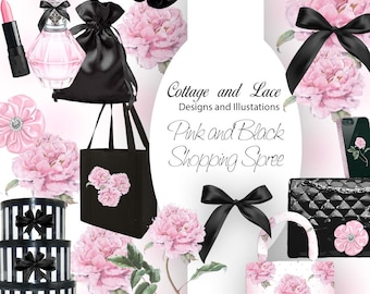 Shopping Clipart, Fashion Clipart, Shopping Elements, Pink and Black Illustrations, P 215