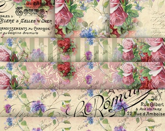 Floral Digital Papers: Old Roses Digital Paper, Vintage Roses, Digital French Writings and Roses, Red Pink Floral No 1229