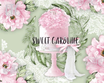 PNG Clipart, Pink Peonies, Digital Pink and White Cake Clipart, Wedding, Invitation, Digital PNG P 190