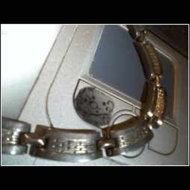 Vintage Silver Tone Etched Choker And Matching Bracelet