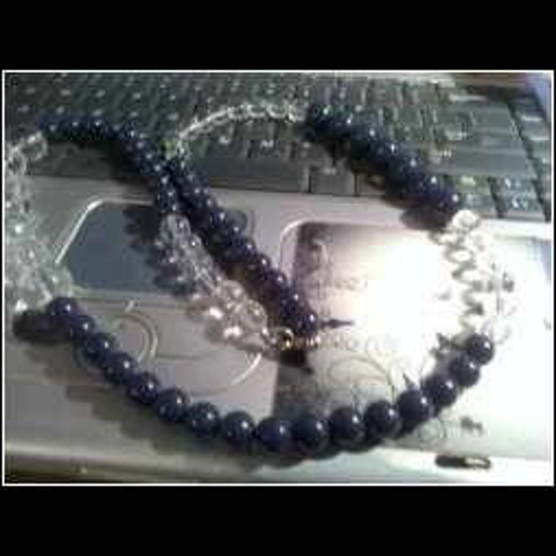 Navy Blue White Beaded Necklace