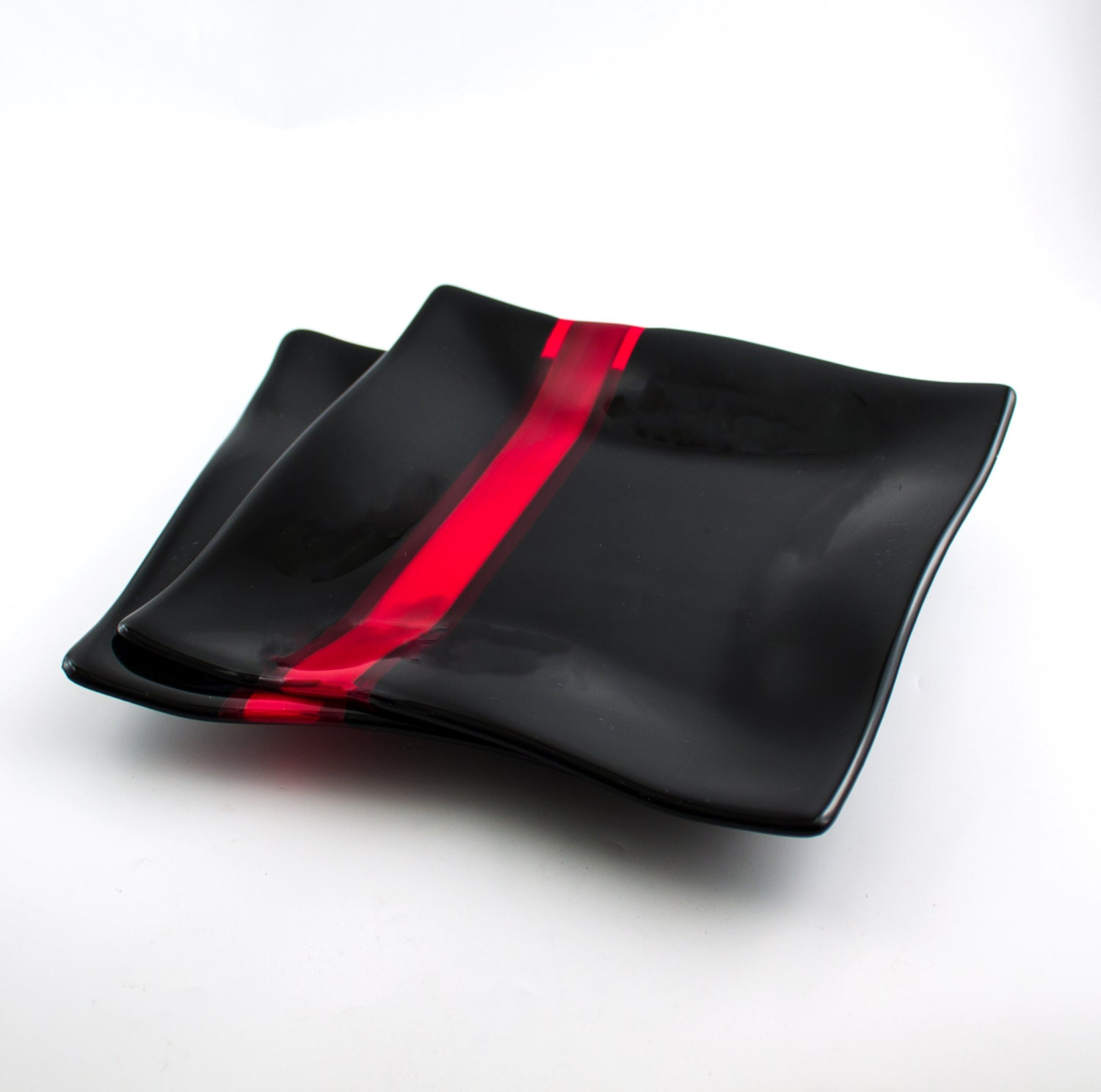 Black and Red Glass Dinnerware, Fused Glass Dinner Plates, Square Plates,  Modern Design, Unique Wedding Gift for Couples