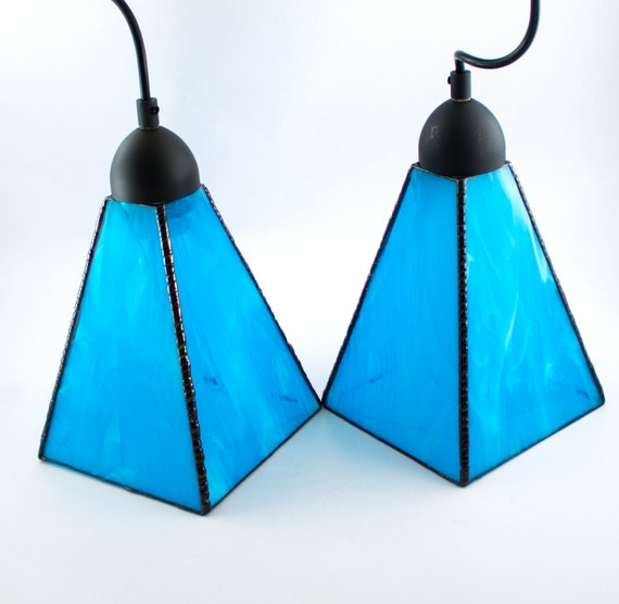 Aqua Blue Glass Pendant Lighting Unique Hanging Lamp Kitchen Island Light Fixture Stained Glass Swag Lamp Custom Sizes Available