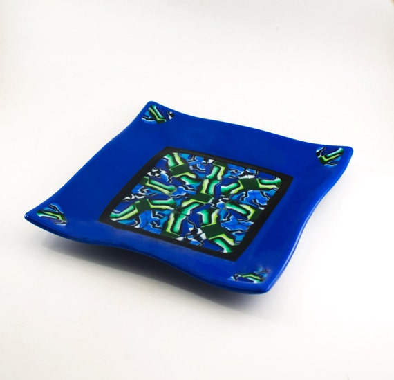 Modern Serving Platter, Decorative Tray, Fused Glass Plate, Unique Wedding  Gifts for Couple, Kitchen Accessories, Cobalt Blue and Green