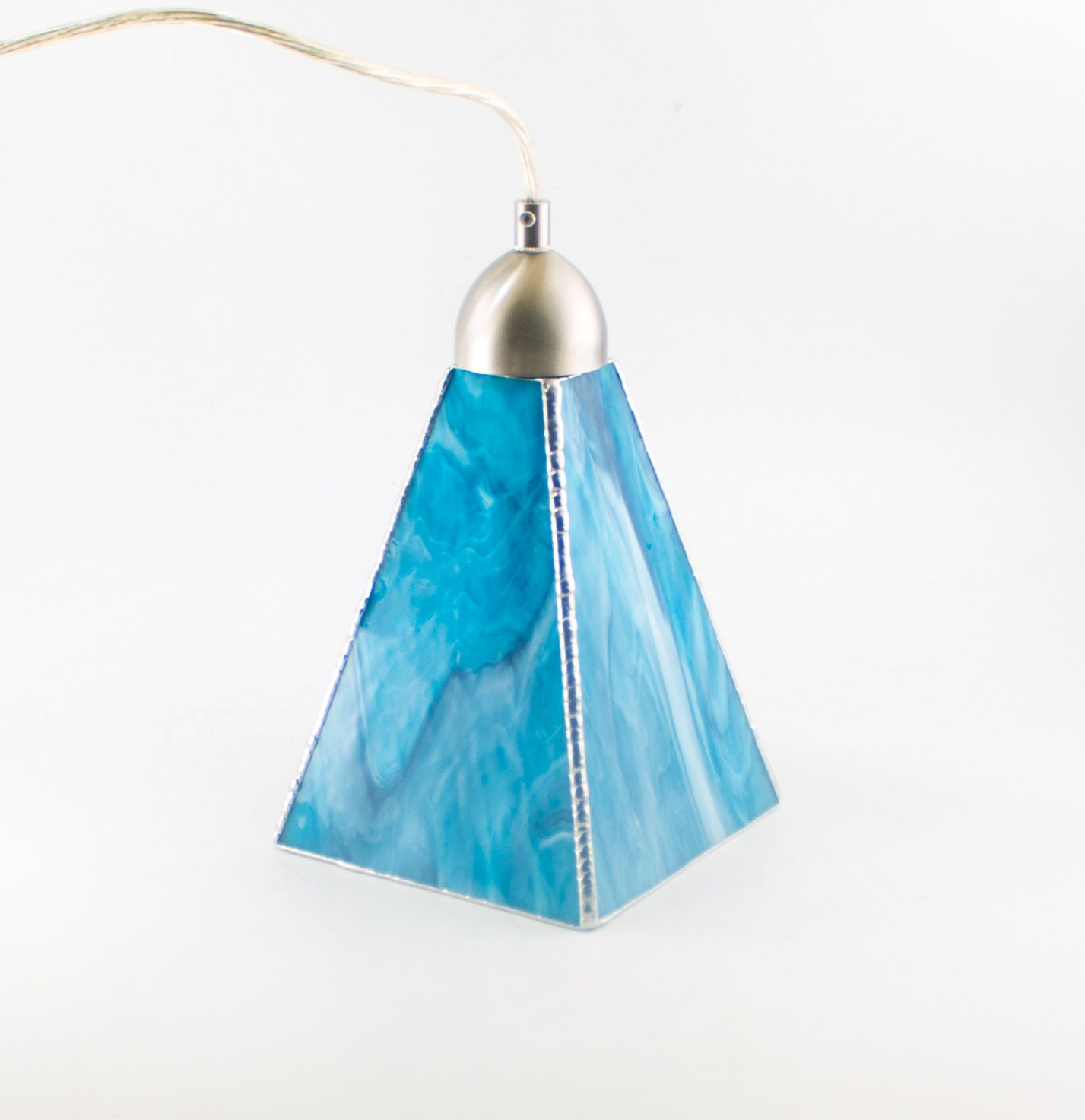 Aqua blue art glass pendant lighting kitchen island ceiling light fixture stained glass hanging lamp choice of hardware