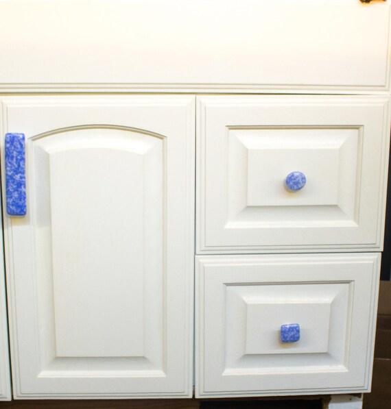 Glas Kabinett Knöpfe und Griffe blau und weiß Türgriffe | Etsy