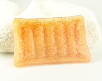 Handmade Bar Soap Holder, Kitchen Sponge Dish, Orange Bubbles, Fused Glass, Modern Bath or Powder Room Decor, Gifts for New Home Owners