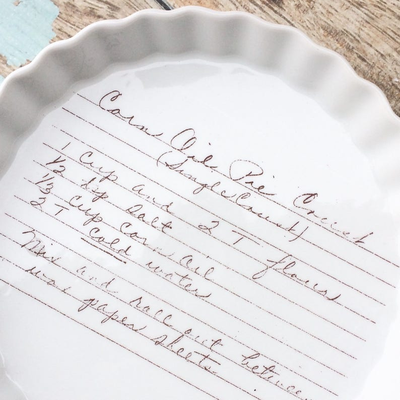 RECIPE PAN, oven safe quiche dish, recipe plate, custom handwitting, handwriting on pan, recipe display, kitchen decor, bridal shower, custo