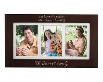 Engraved Family Name Triple 5x7 Collage Picture Frame
