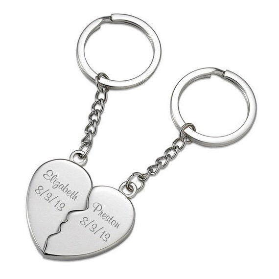 Engraved Personalized Customized Split Heart Key Chains Keychains