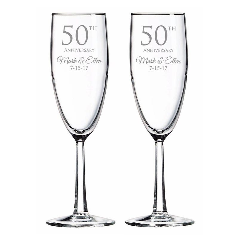 Ensemble De Mariage Anniversaire Champagne Grillage Flûtes 50e Gravé