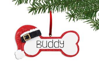Engraved Santa Hat Dog Bone Christmas Ornament