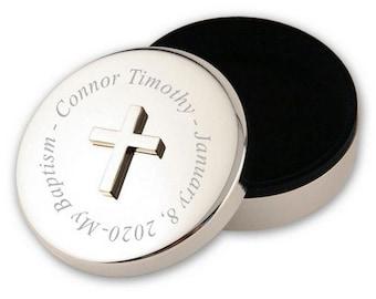 Engraved Round Silver Baptism Keepsake Box