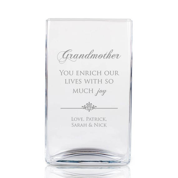 Grandmother Engraved Tall Square Glass Vase Etsy