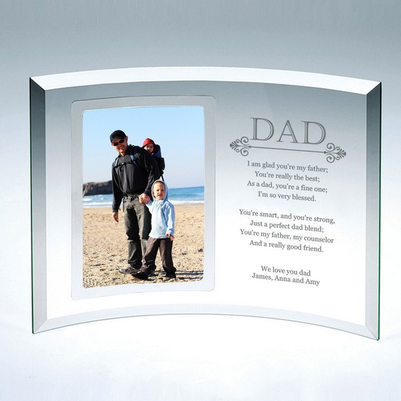 Engraved 4x6 Curved Glass Personalized Picture Frame for Dad
