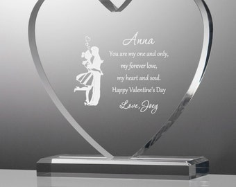 Engraved Young Love Acrylic Heart