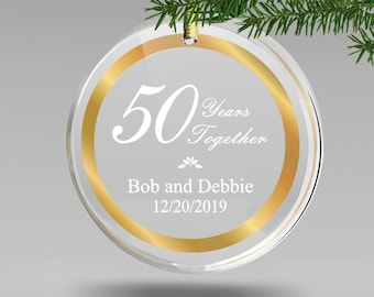 Engraved 50th Wedding Ornament, 50th Anniversary Gifts for Couples, 50th Anniversary Christmas Ornament, Gold Anniversary Memorable Gift