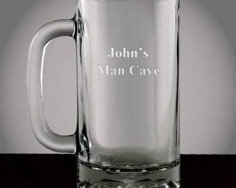 Engraved Glass Beer Mug
