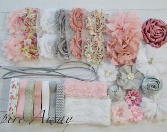 Shabby Chic DIY headband kit #1- Vintage baby shower headband kit, DIY baby headbands, headband station, makes 20+ headbands!!