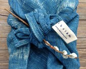 Multi-purposed tea towel : Ikat handwoven organic indigo blue dye cotton (large)