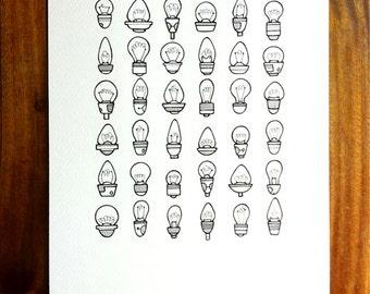 original illustration - 'brighten' - hand drawn lightbulb art, grid pattern light bulb artwork in black and white.