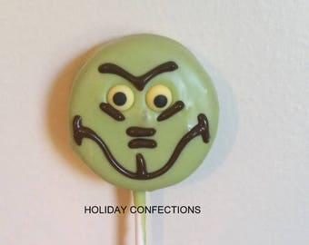 Double Stuff Oreo Cookies On a Stick Covered in Chocolate - Grinch - Kids party favors - Christmas party favors