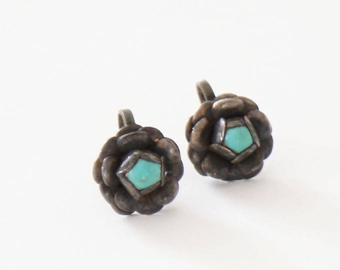 Vtg 40s MEXICO taxco sterling silver Turquoise flower screw earrings stamped