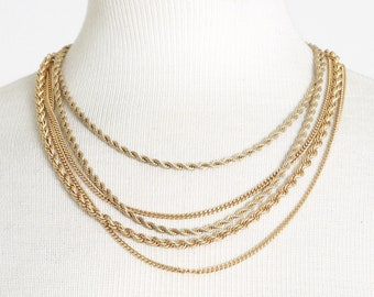 Monet gold chain   Vintage 70s 80s Multi Layered gold Chain Necklace