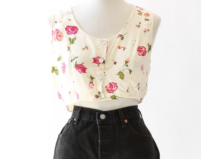 Rose crop top | vintage 90s floral crop top