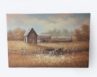 """James Young Original Country barn Oil Painting 