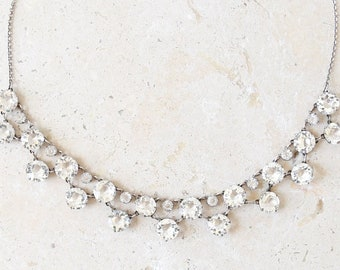 Antique Edwardian Chrystal Paste Necklace | Antique vintage Edwardian sterling silver wedding necklace choker