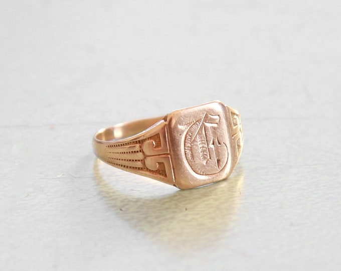 Antique vintage 10K Gold Signet Ring Sz 5 1/2  6 | Gold monogram ring