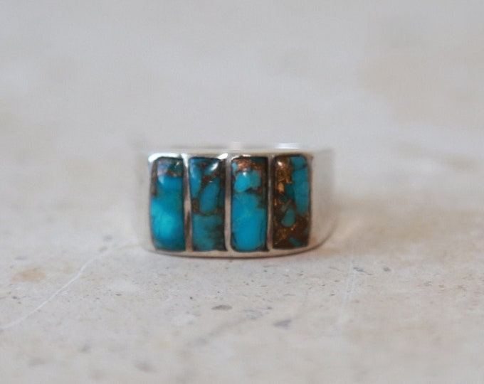 Vintage Sterling Silver square TURQUOISE ring Singed 6.5 - 7