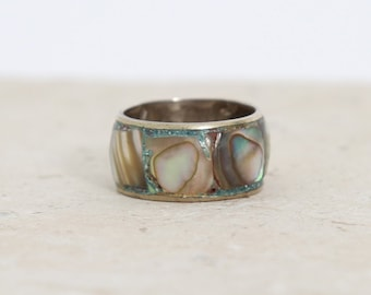 Vintage sterling silver abalone shell band ring Mexico 6 3 /4  7