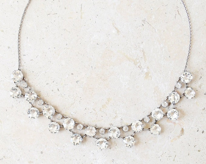 Antique Chrystal Necklace | Antique vintage 40s sterling silver wedding necklace choker