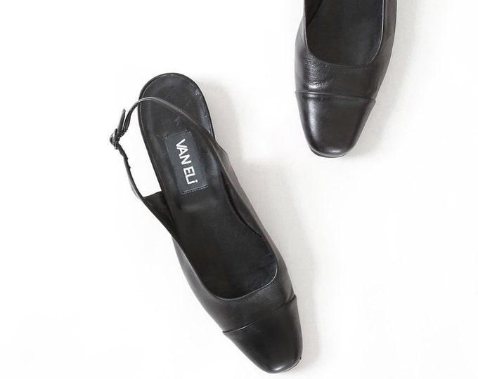 VAN ELI flats | Vintage 90s black leather flats | Minimal heels