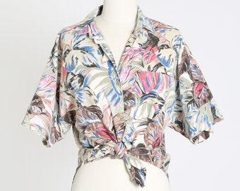 Jungle tie waist blouse |  Vintage 80s tropical jungle print blouse | 1980s high low top