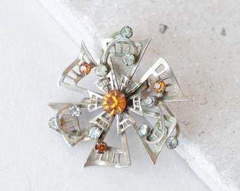 Starburst brooch | Vintage 50s rhinestone dress pin | 1950s Starburst Mid Century Modern brooch pendant