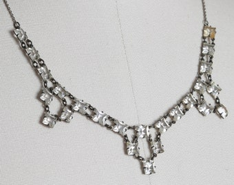 Art Deco Square Paste Necklace  | Antique Vintage 1930s square paste sterling silver necklace
