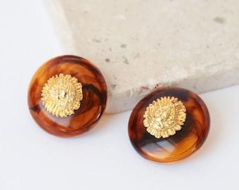 Versace style Medusa head earrings | Vintage 80s Medusa Head amber clip-on earrings
