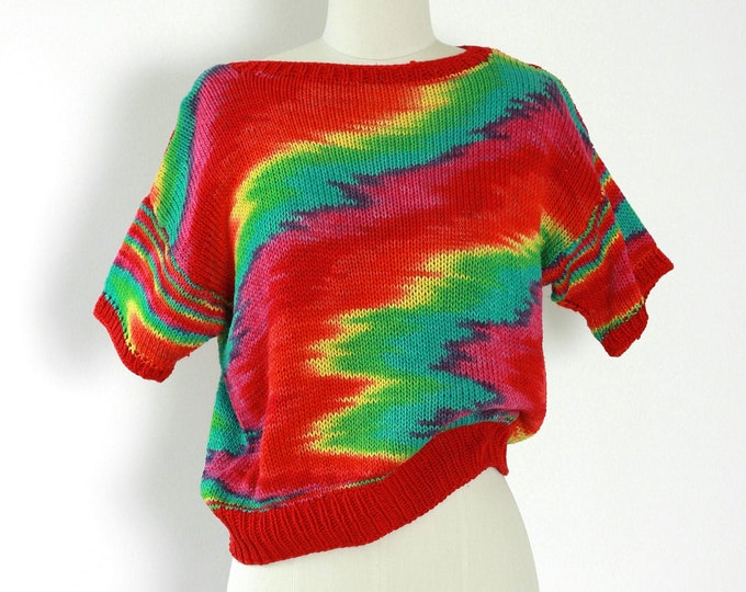 Rainbow sweater | Vintage 70s knit rainbow sweater