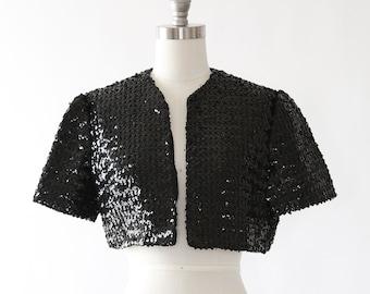 Sequin bolero   Vintage 50s black sequin bolero   1950s bolero
