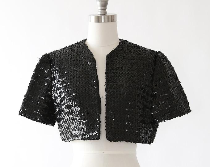 Sequin bolero | Vintage 50s black sequin bolero | 1950s bolero