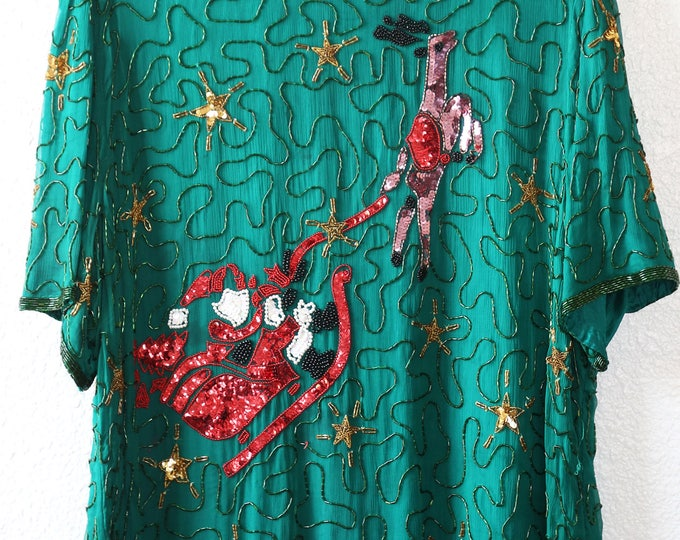 Santa Beaded Christmas Blouse | Vintage 80s silk Holiday sequin top