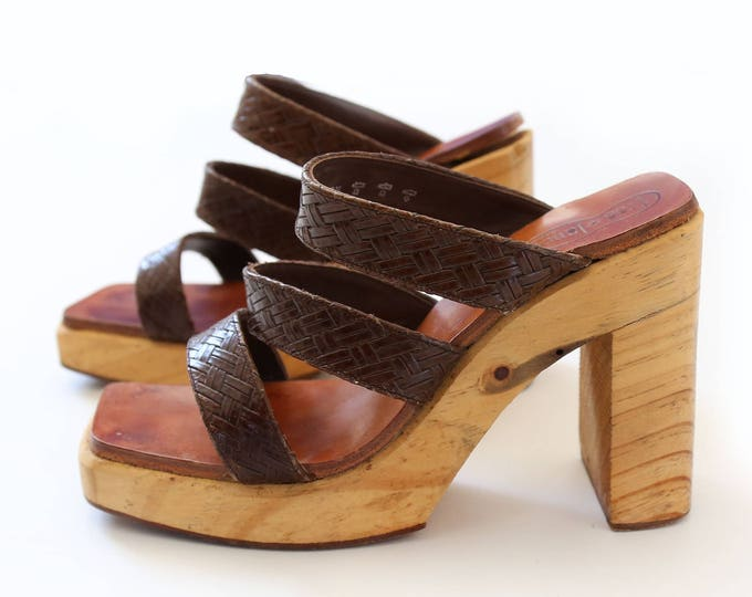 Vintage FREE LANCE Paris woven leather wood heels sz. 38 1/2 7 1/2 8