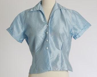 Judy Bond blouse    Vintage 1940s powder blue polished cotton blouse   1940s blouse