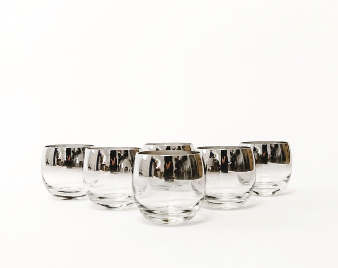 Vintage Mid Century Glasses Set 6 Glasses Bareware Mid Century Modern Silver Whiskey Ombre glasses round Silver Rim Roly Poly